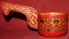 Vintage hand painted ornate pyrography wood mug with handle