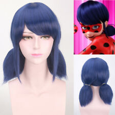 Dark Blue Miraculous Ladybug Marinette Anime Cosplay Short Wig + Two Ponytails