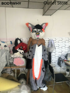 Gray Fursuit Long Fur Husky Fox Dog Fursuit Cosplay Mascot Costume Fancy Dress