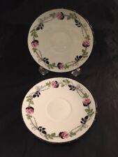 Vintage Saucers Shelley China England 11190 Roses Black Pink