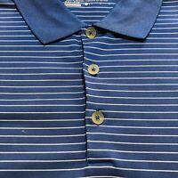 Nike GOLF Polo Shirt Men Size Large Dri-Fit Short Sleeve Stripe Blue White