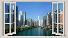 Chicago landscape Window View Repositionable Color Wall Sticker Wall Mural 3 FT