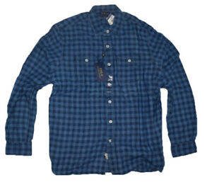 Polo Ralph Lauren Men's Plaid Cotton Shirt Classic Fit dark Indigo Size L BNWT