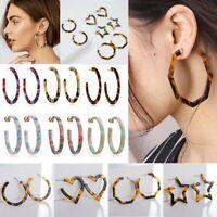Acrylic Leopard Print Circle Ear Hoop Dangle Earrings Simple Geometric Jewellery