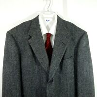 HART SCHAFFNER MARX jacket blazer sport coat 100% wool tweed 2 btn long 44 44L