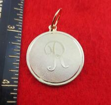 """14 KT GOLD EP LARGE(OVER 1"""") ROUND INITIAL DISC LETTER R PENDANT CHARM"""