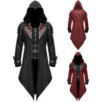 Mens Steampunk Medieval Gothic PU Leather Trench Coat Jacket Goth Punk Overcoat