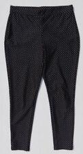 $69 CHICO'S Black & White Polka Dot Print Soft Stretch Crop Leggings size 0 4 6