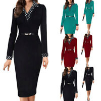 Women Working Long Sleeve Sashes Office Pencil Party Casual Dresses