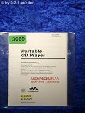 Sony Bedienungsanleitung D E999 /EJ925 CD Player (#3669)