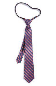 Nordstrom Boy's Navy Sam Stripe Silk Zipper Tie 4228 One Size