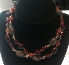 """29"""" Vintage Colored Stone & Gold Metal Bead Single Strand NECKLACE"""
