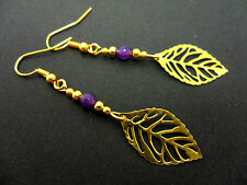 Gold Colour Leaf Dangly Earrings. New. A Pair Of Purple Jade Bead &