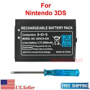 OEM For Nintendo 3DS 2DS Battery Replacement + Tool 2000mAh 3.7V Rechargeable