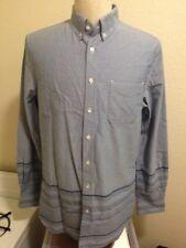 WINGS + HORNS Lg Blue SOLID TO SAKIORI Engineered Stripe OCBD Work Shirt SS14