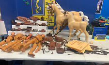Large Lot Marx  Vintage Johnny West Figures Horses And Accessories Lot Cowboys