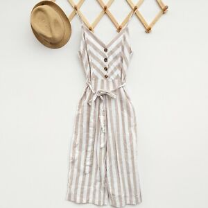 Kensie Sleeveless Jumpsuit Size M New Striped Linen Blend Beige White Cropped