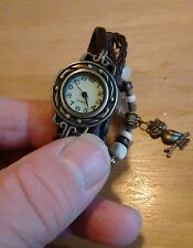 Vintage ladies leather/Beads Bracelet watch, running with new battery NR J