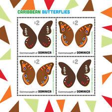 DOMINICA 2013 - CARIBBEAN BUTTERFLIES SHEET OF 4 STAMPS (#1) MNH