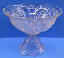 Huge Ornate Glass Crystal Punch Bowl With Stand & 17 Serving Cups