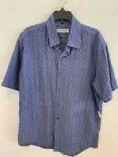 James Campbell Blue Button Front Design Shirt Men's Size Medium