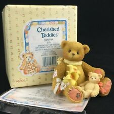 Vtg Enesco Cherished Teddies Figurine Lily Bear With Flowers 202959A Spring 1997