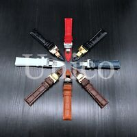 12-24 MM Watch Band Strap Leather Alligator Deployment Clasp Buckle Fits Citizen