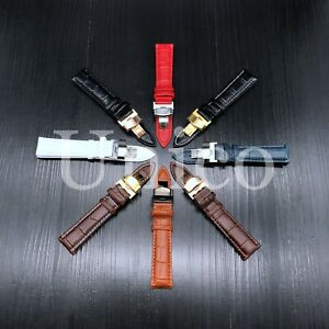 12-24MM Watch Band Strap Leather Alligator Gold Deployment Clasp Fits Tag Heuer