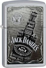 Zippo Jack Daniels Bottle Satin Chrome Windproof Lighter 29285 NEW