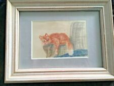 TABBY ON COUCH by Genevieve T. Beecher (1888-1954) - CA Art Club Member