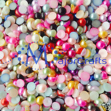 50pcs 14mm Mixed Colours Flat Back Half Round Resin Pearls Nail Art Craft Gems