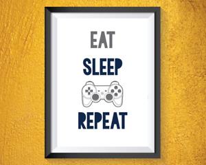 Gaming Print Boys Bedroom Decor Eat Sleep Game Repeat Grey Navy Games Room A4