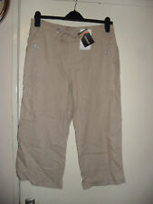KALEIDOSCOPE LADIES STONE LINEN-RICH CROPPED TROUSER SIZE UK 12 BRAND NEW