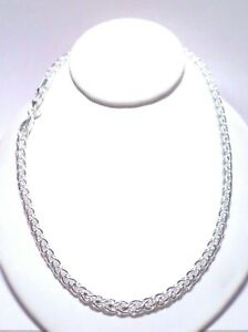 """womens spiga wheat chain necklace 20"""" 6mm 925 sterling silver"""