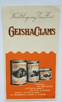 "Vintage Advertisement ""Clams and Recipes"" Geisha Brand Pamphlet Cookbook A11"
