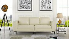 """Mid Century Modern Leather Match Fabric 3 Seat Sofa, Couch 81.1"""" W inches, Ivory"""
