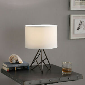 Espresso Metal Tripod Bedside Lamp with linen shade -17.5in H.