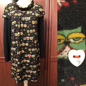 *JOE BROWNS BLACK MIX  OWL PRINT DRESS UK 10 EUR 38 / Long Sleeves