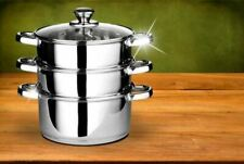 3PC STAINLESS STEEL STEAMER COOKER POT SET PAN COOK FOOD GLASS LIDS COOKWARE NEW