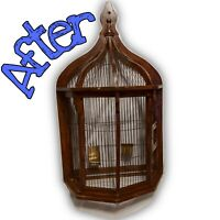 Vintage wood birdcage flat back wall hung cage