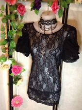 VICTORIAN STEAMPUNK GOTHIC GYPSY FLORAL LACE TOP ZIP BACK SIZE 14 💕💜💕