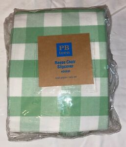 POTTERY BARN PB TEEN REESE CHAIR SLIPCOVER Green White Gingham Check Square NEW