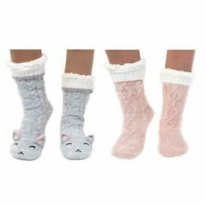 NWT Jane and Bleecker Slipper Socks Plushfill Lined Super Soft 2 Pairs 4-10  New