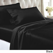 New Luxury Silk Feel Satin Queen Sheet Set Fitted +Pillowcase+Flat  BLACK