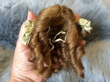"Antique Human Hair Wig Long Ringlets Fits 12""Bisque Doll 7.25""Head Circumference"