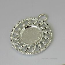 14mm Round Silver Plated Cabochon (Cab) Drop Setting (#RB-C2373)