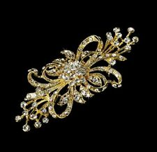 "Gold 4"" Vintage Look Diamante Rhinestone Crystal Flower Bow Wedding Brooch Pin"