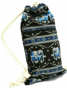 Elephant patterned blue/black cotton sling backpack bag with rope drawstring