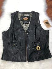 Harley Davidson Genuine Leather Biker Vest Jacket Black