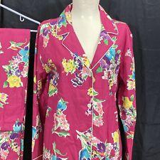 NWT Ralph Lauren Pajama Set 2 pc. Womens Large Vibrant Floral Pink Cotton